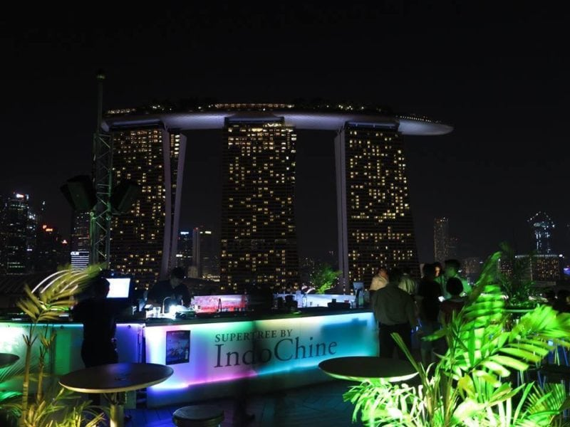 Have a drink in this rooftop bar on the top of the Supertree, at Gardens by the Bay in singapore