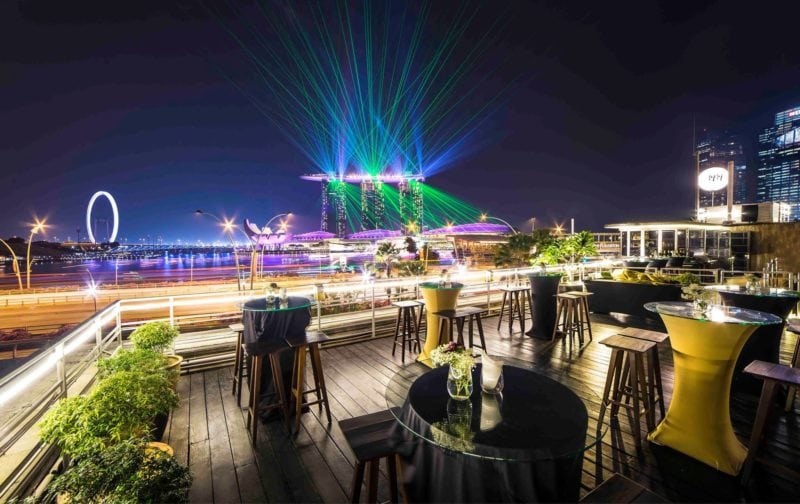 1919 Waterboat House rooftop bar view in singapore