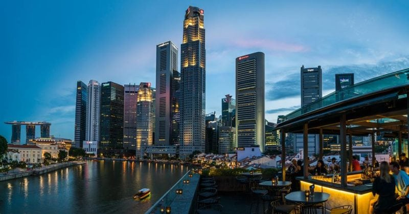 Southbridge rooftop bar overlookig boat quay in singapore