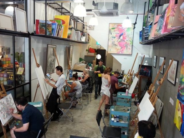 Art jamming at Cups n canvas