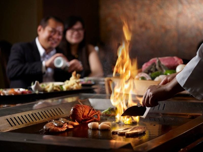 Japanese food on the iron grill at Shima Teppanyaki restaurant in Singapore
