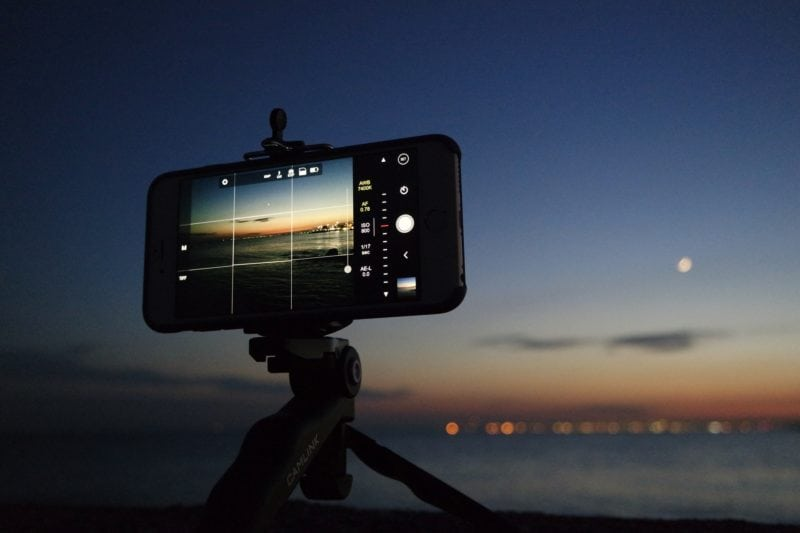Night photography with mobile tripod
