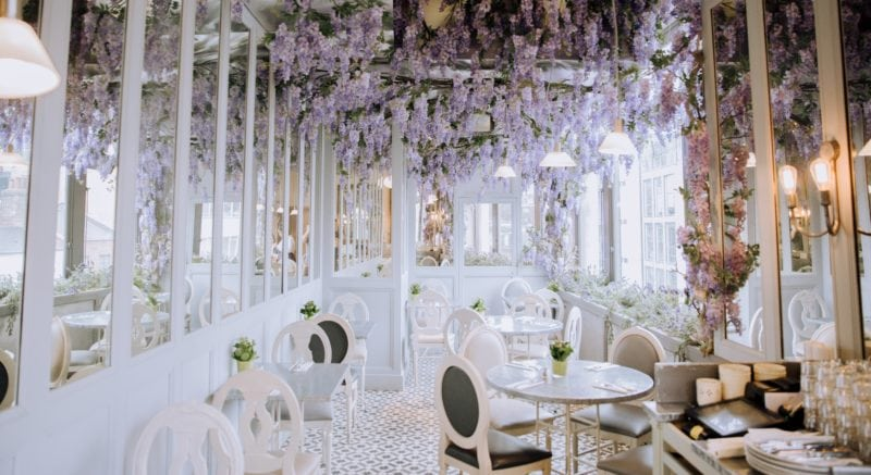 Beautiful wedding venue covered in blooming flowers