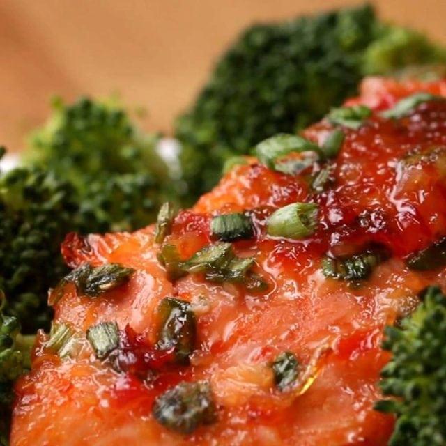 chilli glazed salmon