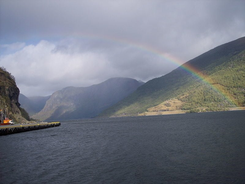 Rainbow near the fjords in Norway