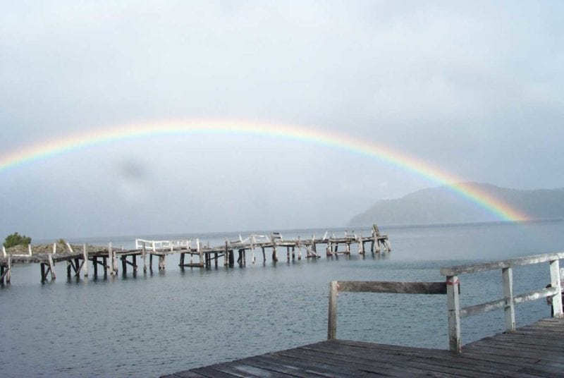 Rainbow at the Nahuel Huapi Lake in the Patagonia region