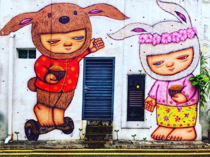 Bunny street art Singapore
