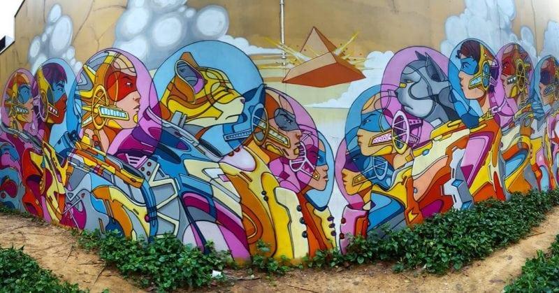Street art by Didier Mathieu at Piedra Negra Singapore