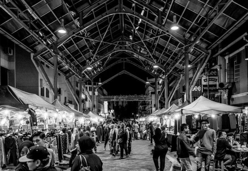 A night bazaar at Muar