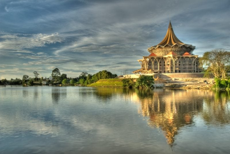 sarawak state assembly building overlooking Kuching river