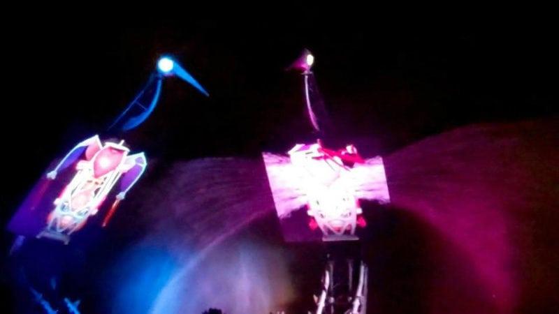 Crane dance light show at night in Sentosa