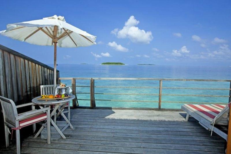 Reethi Beach Resort water villa balcony