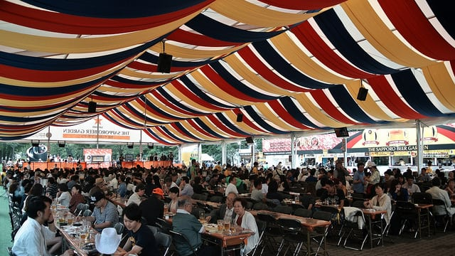 In summer, the Odori Park changes into a large beer garden in hokkaido