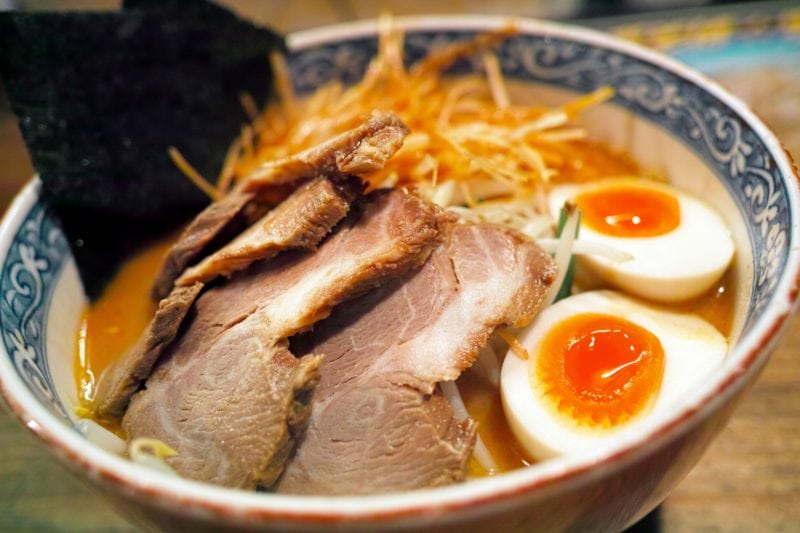 Bowl of ramen with meat slices and eggs