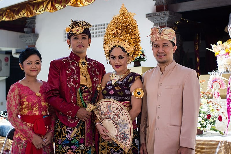 Balinese family in traditional Bali costume
