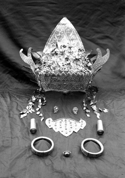 Balinese silver headdress and jewelry