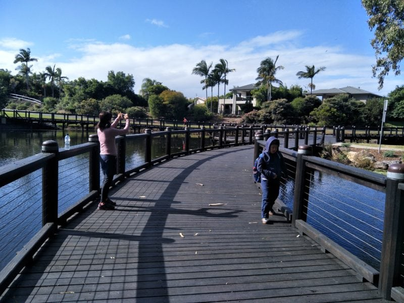 Bridge across lake at botanical gardens