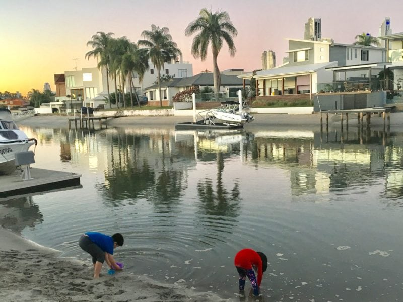 2 kids Treasure hunting on waterways