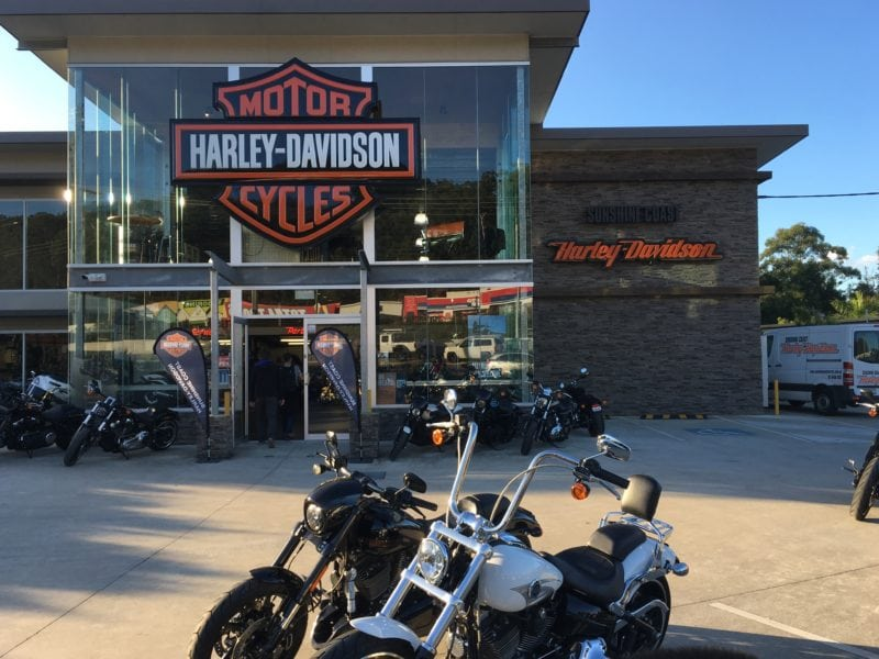 Front facade of Harley Davidson store