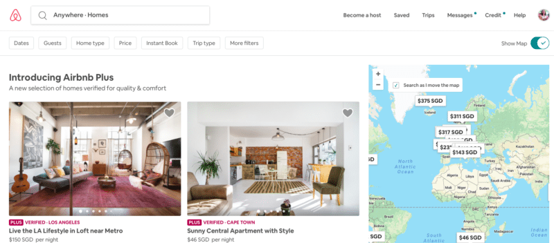 Airbnb vacation rental platform