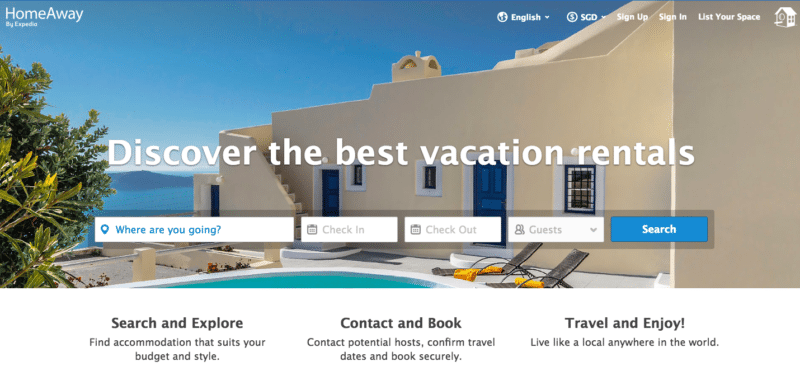 HomeAway website