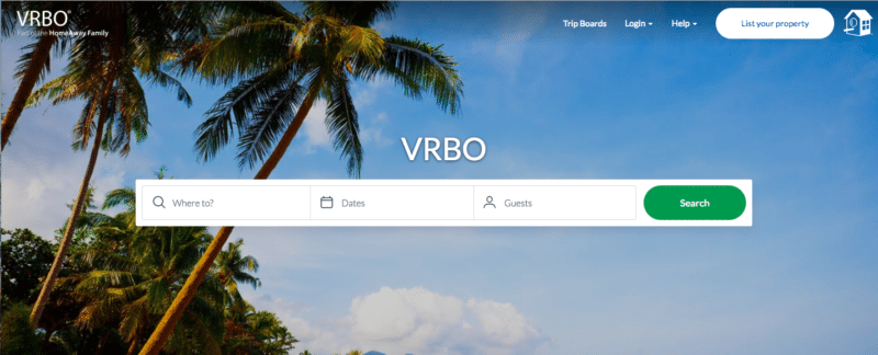 VRBO website for vacation rentals listings