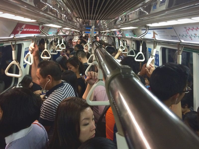 Crowded MRT Train
