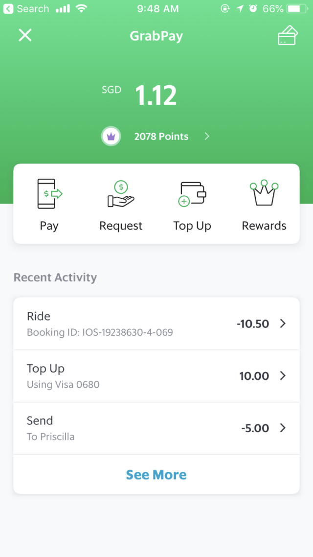 GrabPay Mobile Wallet E-Wallet Screenshot