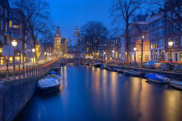 Europe Amsterdam Canals Night