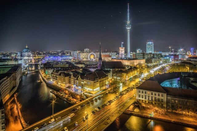 Europe Berlin City Skyline Night