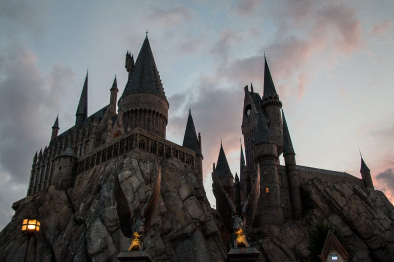 Hogwarts castle at sunset