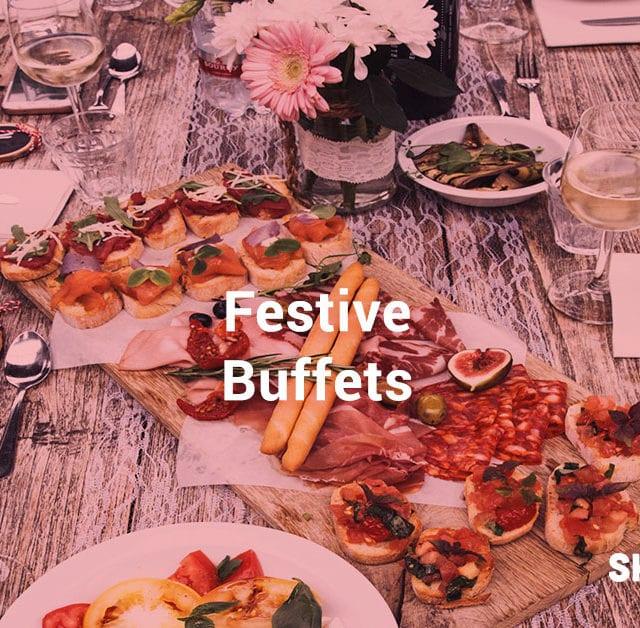 a buffet spread for a Christmas festive meal