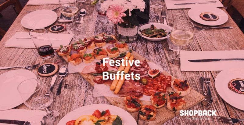 a buffet spread for a Christmas festive meal