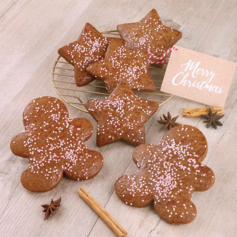 Gingerbread men on table