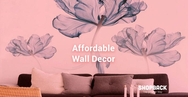 blue flower stickers as wall decor in living room
