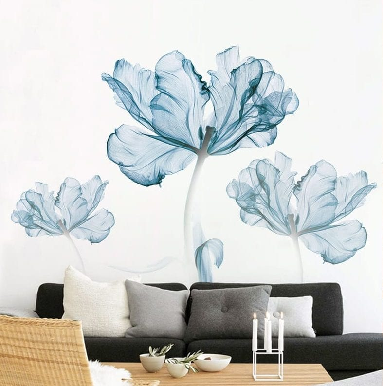 Blue wall sticker floral blue