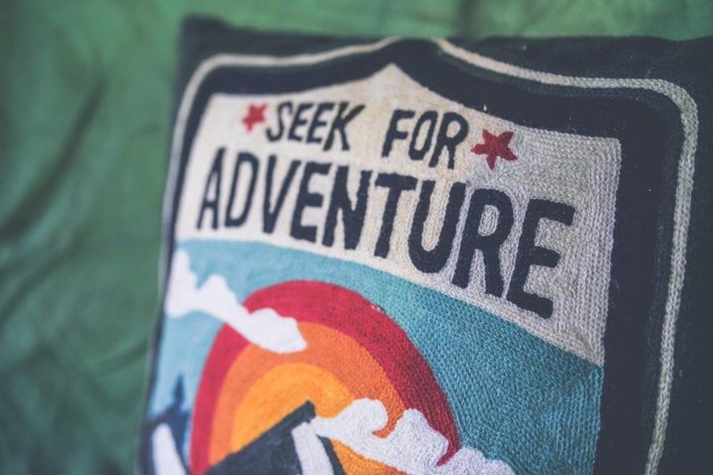 seek for adventure message cushion