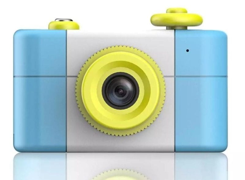 DOIT mini camera in blue and yellow