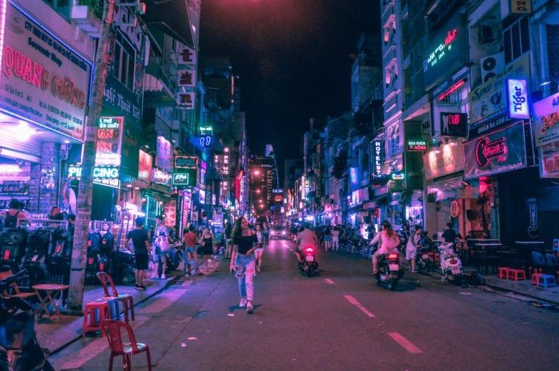 walking along city streets at night