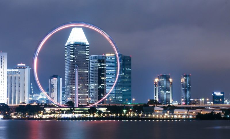 view of Singapore Flyer by night