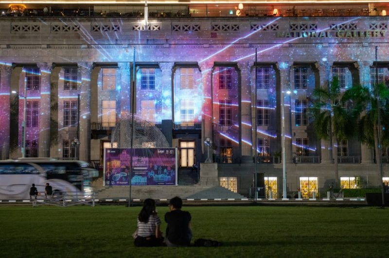 facade to S'pore National Gallery by night