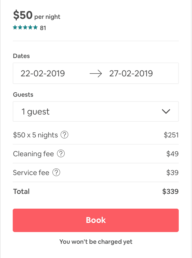 Airbnb price
