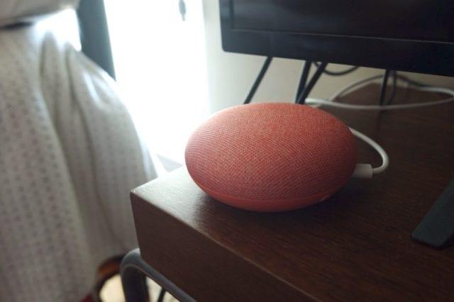 coral google home mini on desk
