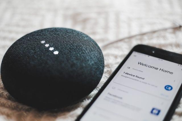 google home mini charcoal with phone