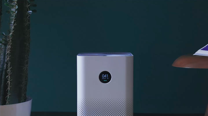 white air purifier with round panel display