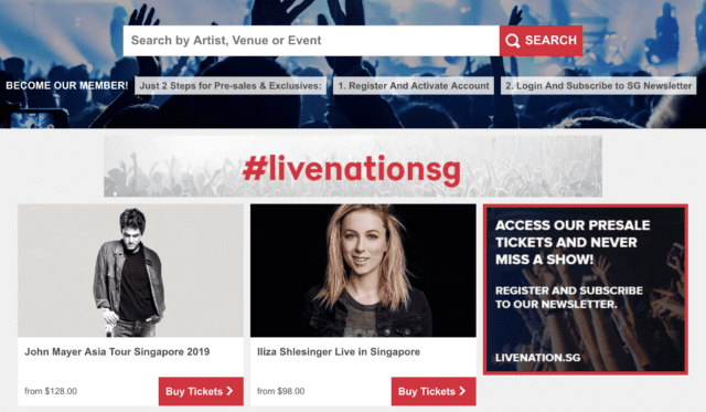 livenation.sg website