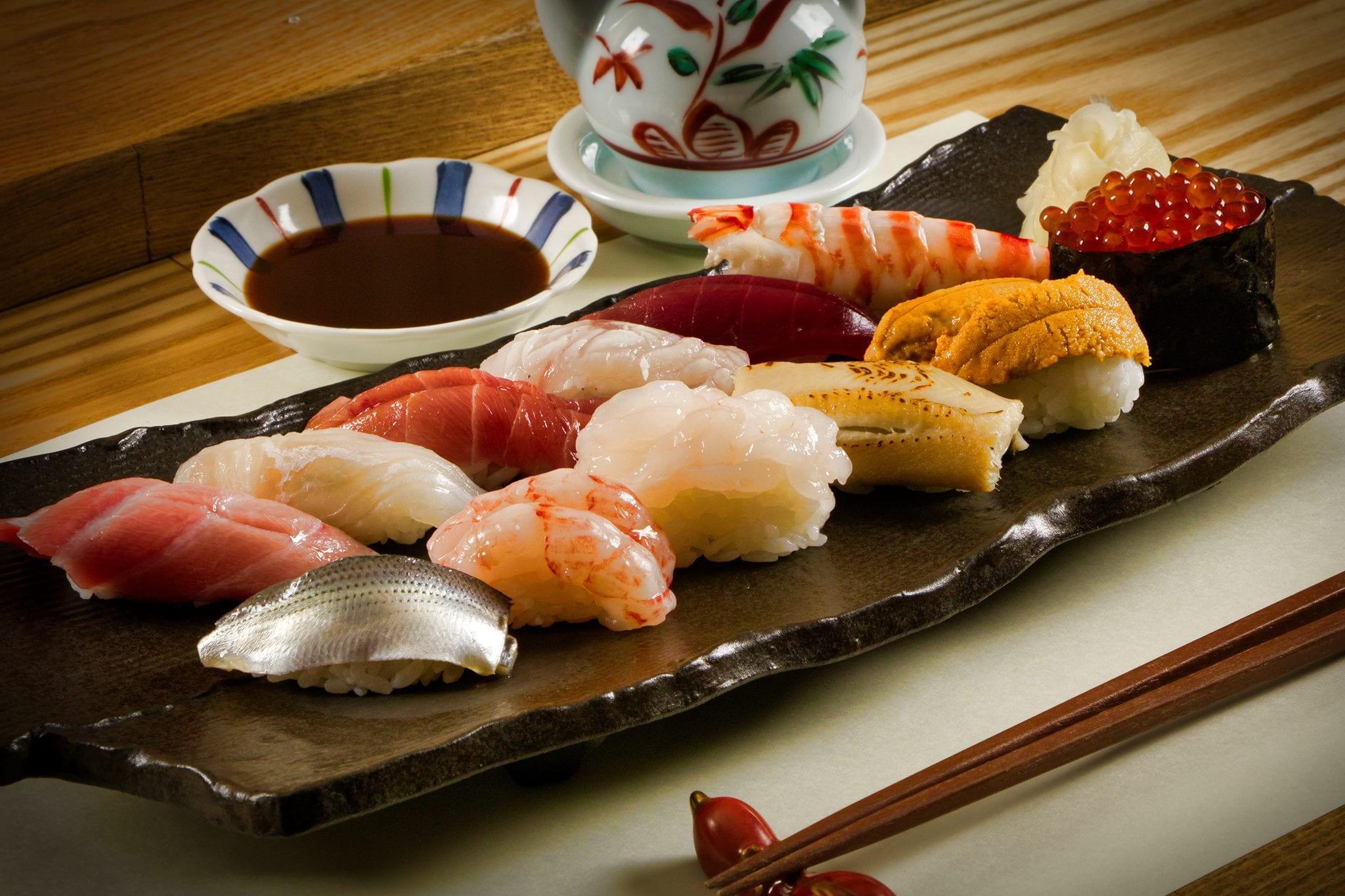 plate of sashimi sushi