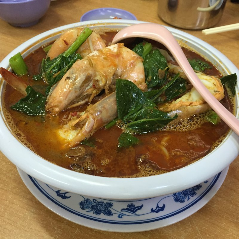 jumbo prawn rice noodles in spicy soup