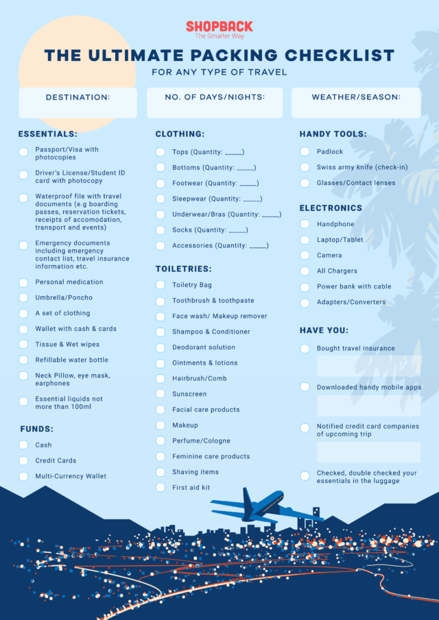 ultimate travel checklist form shopback