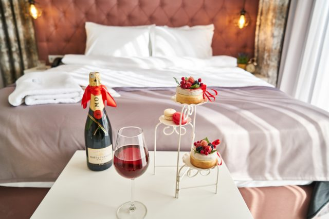 champagne and dessert in hotel room